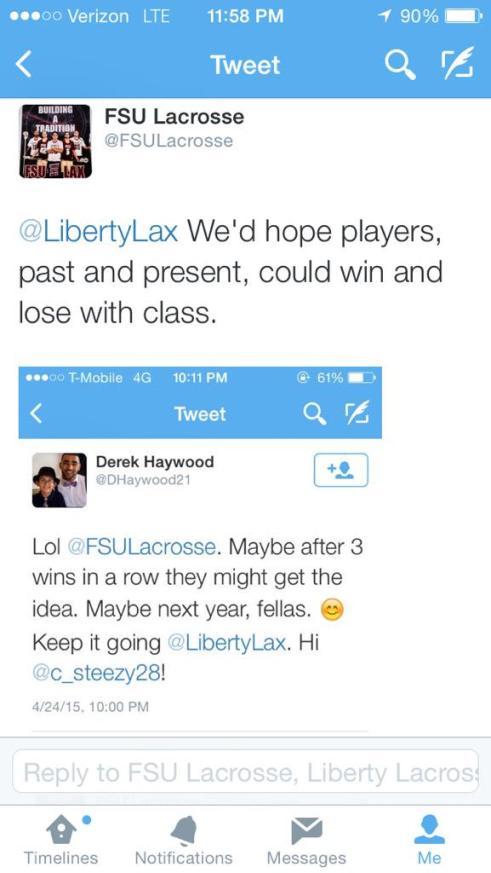 FSU Liberty lacrosse twitter
