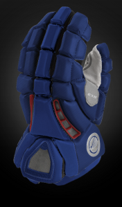 Maverik has switched in a Honeycomb fabric. Notice how it differs from the middle finger which is anodized.  Expecting a lot of teams to go with a solid color glove and contrasting vents.